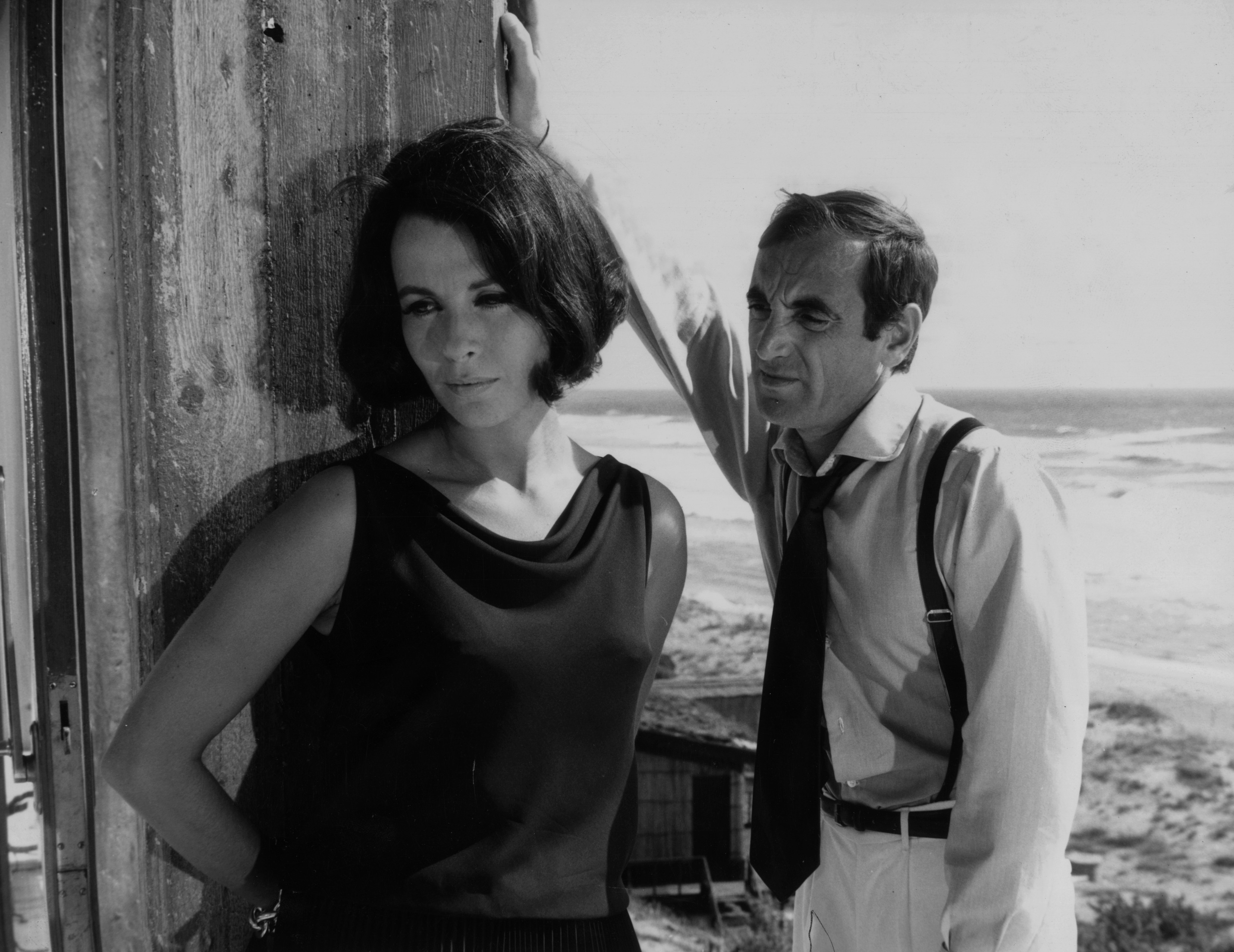 French singer and actor Charles Aznavour with English actress Claire Bloom in Rome for the filiming of 'High Infidelity'.
