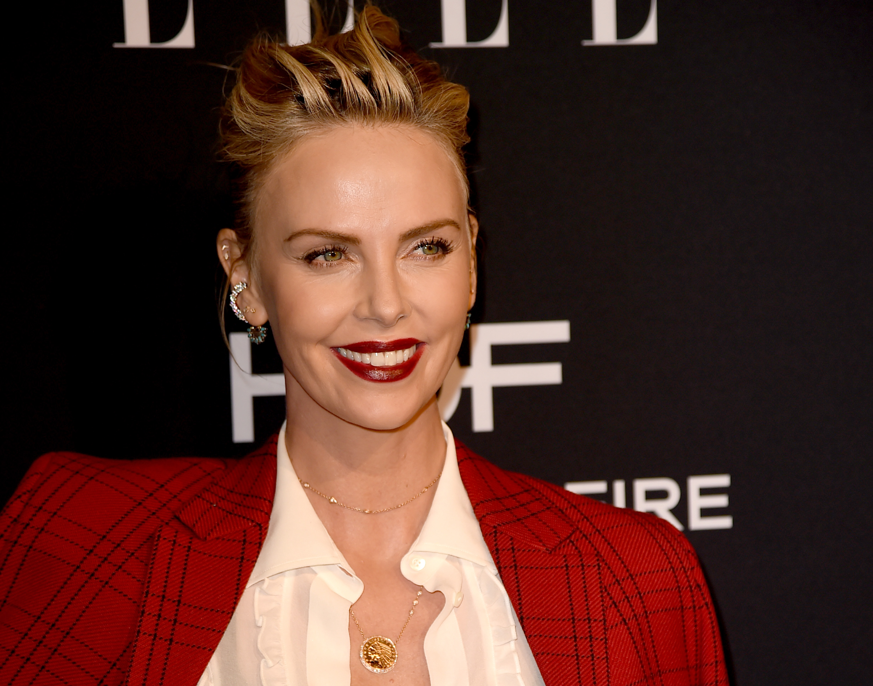 Charlize Theron arrives at the 25th Annual ELLE Women in Hollywood Celebration at the Four Seasons Hotel at Beverly Hills on October 15, 2018 in Los Angeles, California. Source: Getty