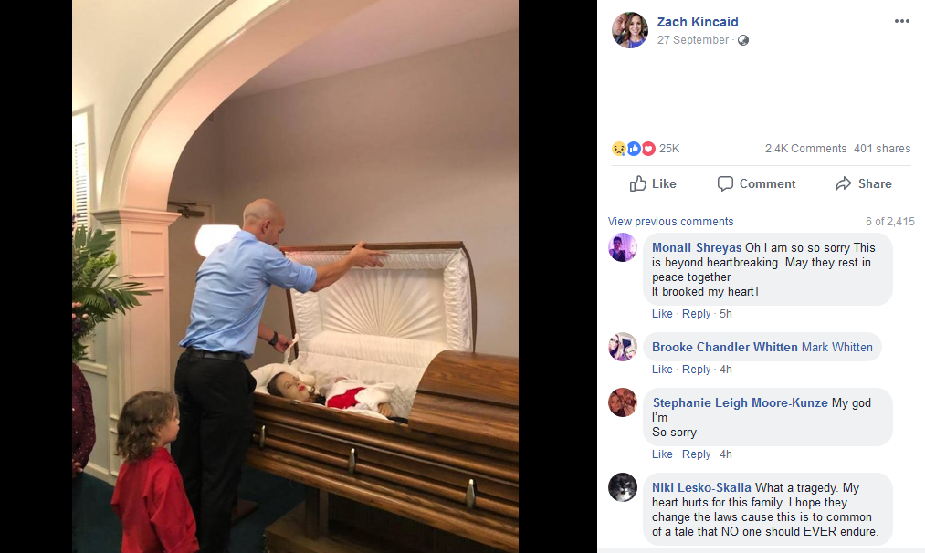 Kincaid shared the images from the funeral on social media (Source: Facebook)