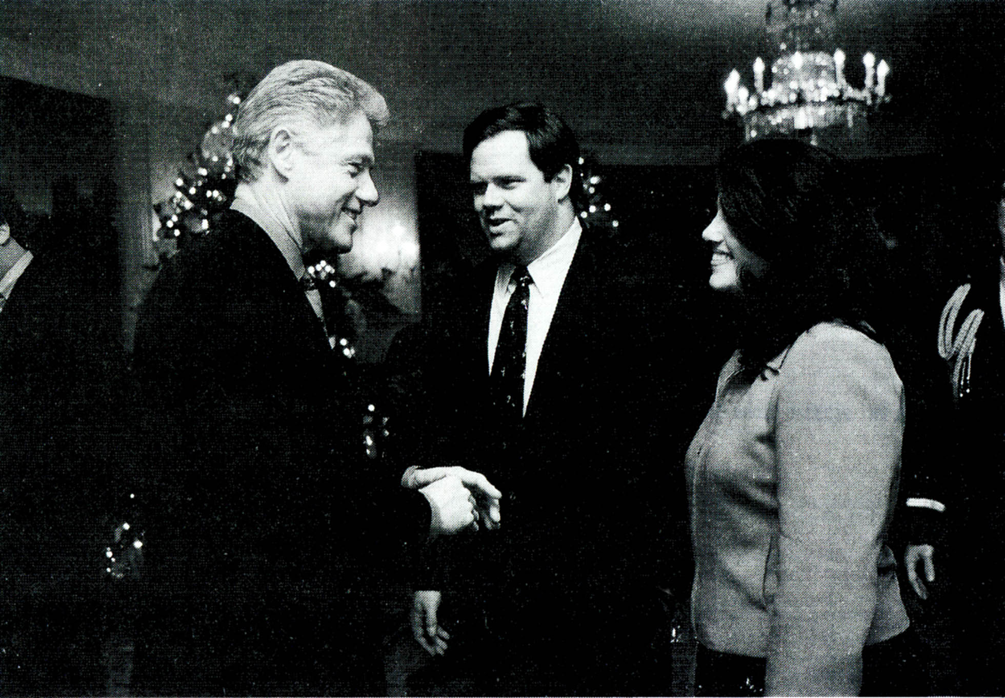 A photograph showing former White House intern Monica Lewinsky meeting President Bill Clinton at a White House Christmas part December 16, 1996 submitted as evidence in documents by the Starr investigation and released by the House Judicary committee September 21, 1998.