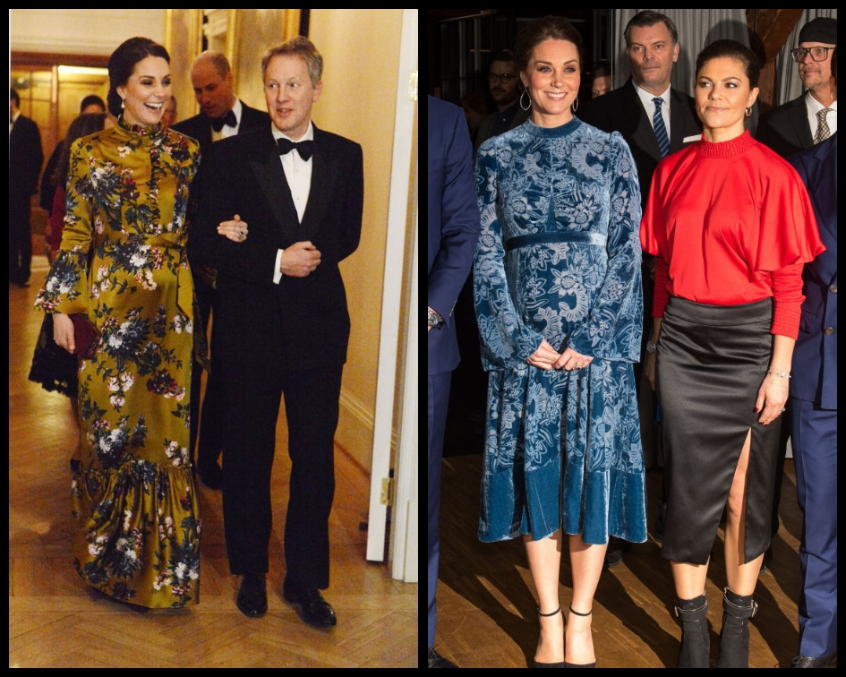 The last time Duchess Kate caused an outrage over her choice of clothes was back in January this year when the royal wore a couple of hideous and 'frumpy' floral dresses by Erdem two nights in a row during the royal tour of Sweden. (Source: Getty Images)
