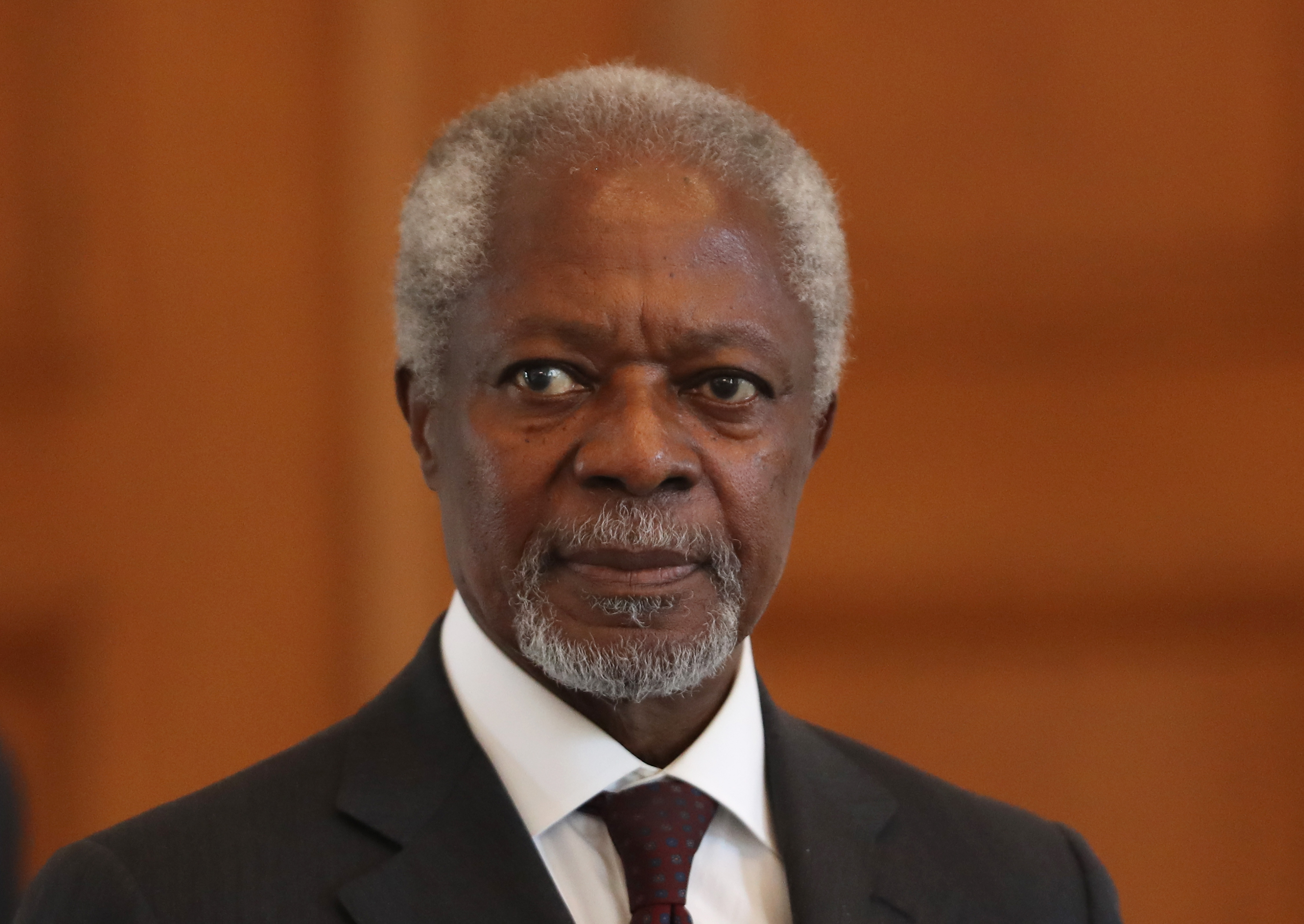 Former U.N. General Secretary Kofi Annan arrives to meet with German President Joachim Gauck at Schloss Bellevue palace on September 13, 2016 in Berlin, Germany. Annan is Chairman of 'The Elders,' is an international group of mostly elderly former diplomats, human rights activists and peace proponents founded in 2007 by Nelson Mandela.