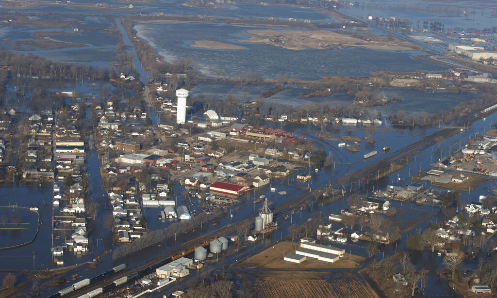The city of Valley is inundated with floodwaters Sunday, March 17, 2019, in Valley, Neb. (AP)