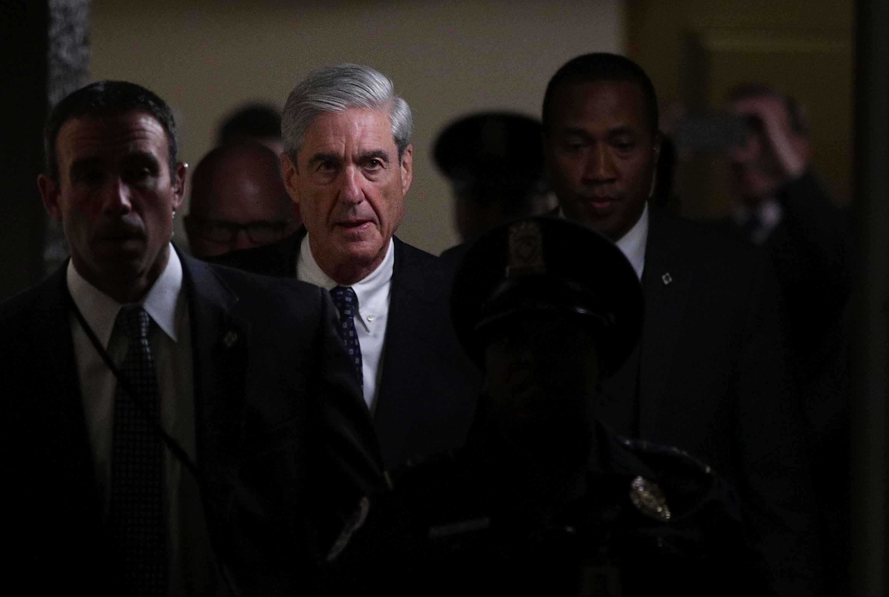 Special counsel Robert Mueller (2nd L) leaves after a closed meeting with members of the Senate Judiciary Committee June 21, 2017 at the Capitol in Washington, DC. The committee meets with Mueller to discuss the firing of former FBI Director James Comey. (Getty Images)