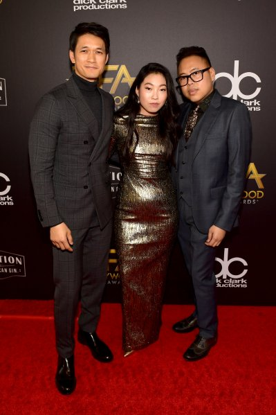 Harry Shum Jr., Awkwafina and Nico Santos attend the 22nd Annual Hollywood Film Awards. (Getty Images)