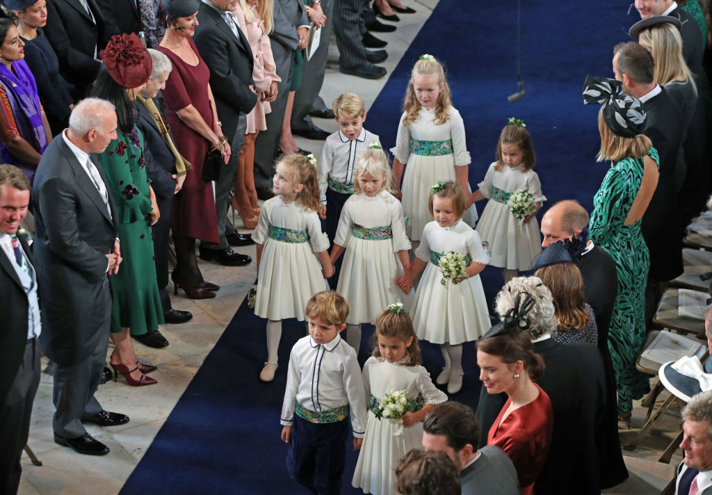 The bridesmaids and pageboys arrive for the wedding of Princess Eugenie to Jack Brooksbank at St George's Chapel in Windsor Castle on October 12, 2018, in Windsor, England. (Getty Images)