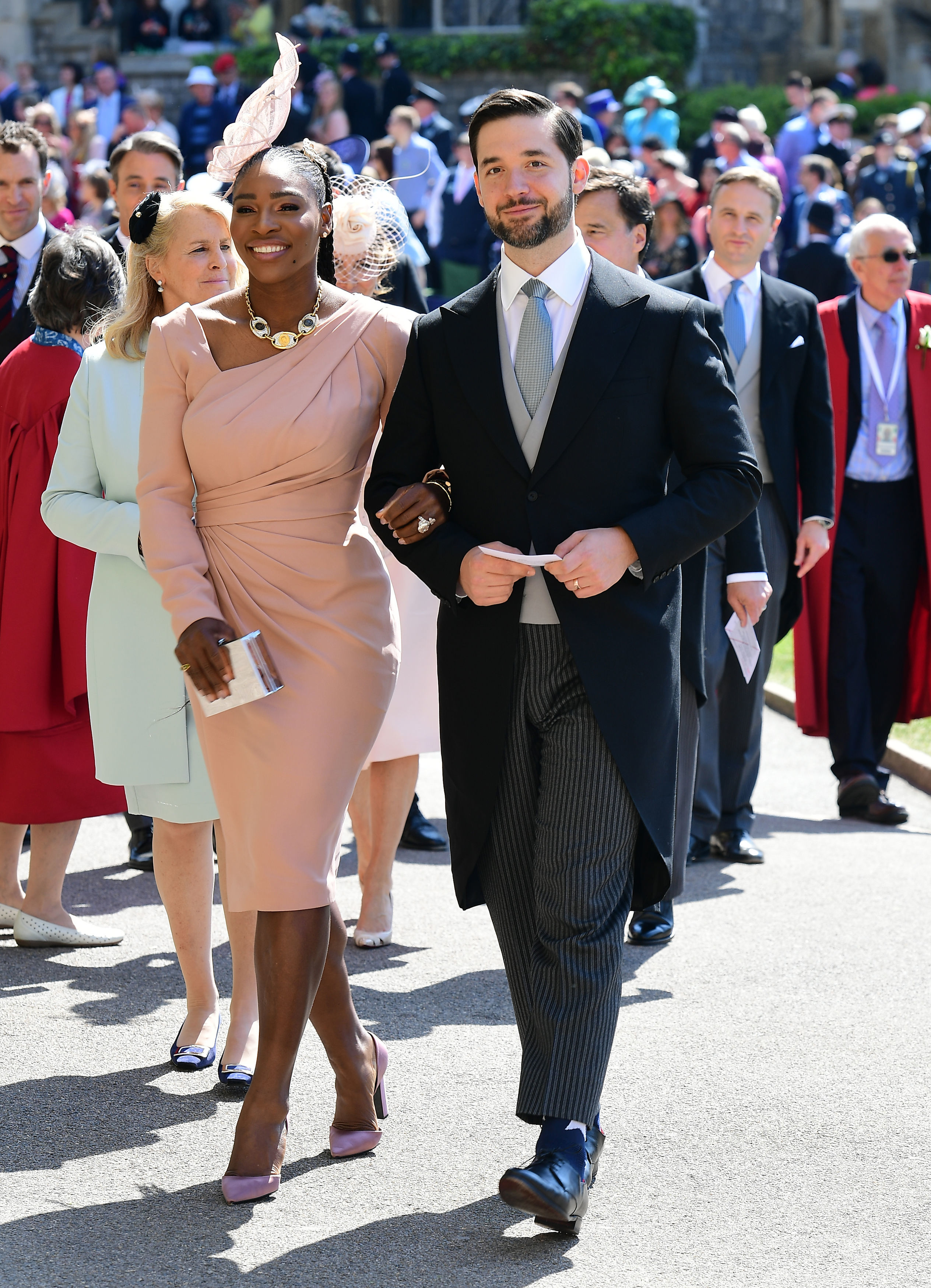 Serena Williams and her husband Alexis Ohanian arrive for the wedding ceremony of Britain's Prince Harry and US actress Meghan Markle at St George's Chapel, Windsor Castle on May 19, 2018 in Windsor, England.
