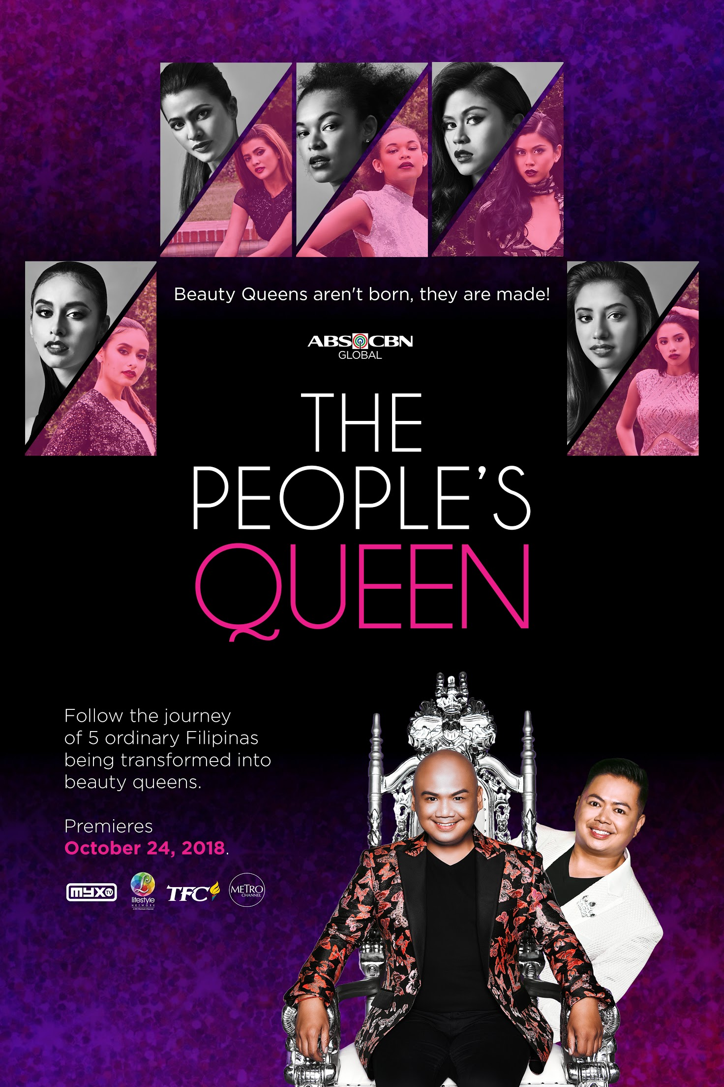 The People's Queen follows Cecilio Asuncion (from Strut, Oxygen TV's reality show about transgender fashion models) and Voltaire Tayag as they coach five of the top Filipino pageant hopefuls in their quests for international titles