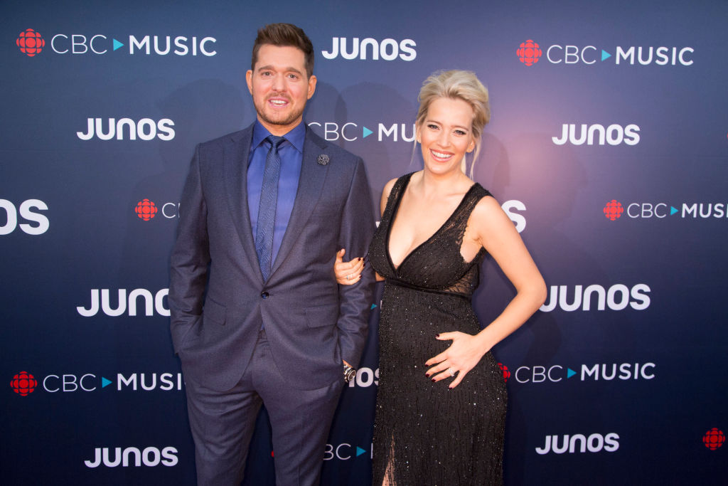Juno Host Michael Buble and his wife Luisana Lopilato attend the red carpet arrivals at the 2018 Juno Awards at Rogers Arena on March 25, 2018, in Vancouver, Canada. (Photo by Phillip Chin/Getty Images)