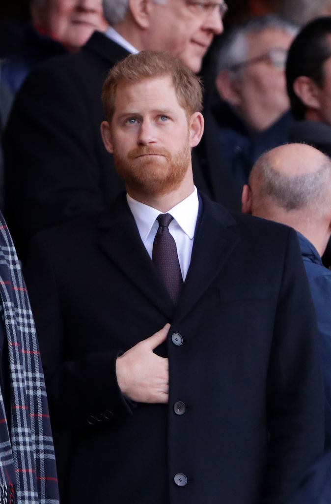 Prince Harry, The Duke of Sussex looks on prior to the Guinness Six Nations match between England and France at Twickenham Stadium on February 10, 2019, in London, England (Source: Richard Heathcote/Getty Images)