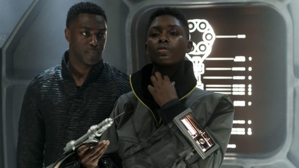 David Ajala (L) as Roy Eris, and Jodie Turner-Smith (R) as Melantha Jhirl in Nightflyers. Source: SyFy