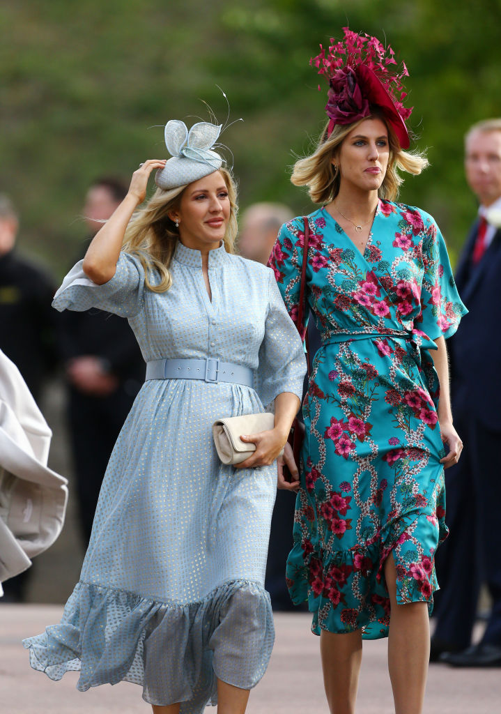 Ellie Goulding (L) arrive ahead of the wedding of Princess Eugenie of York to Jack Brooksbank at Windsor Castle on October 12, 2018, in Windsor, England. (Getty Images)