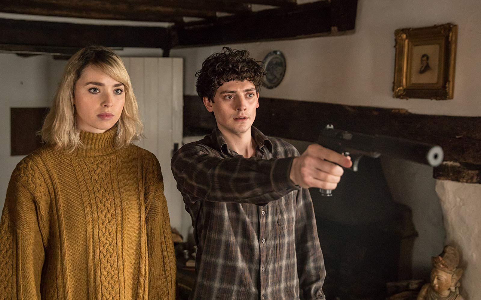 A still from the film with lead actors Freya Mavor and Aneurin Barnard.