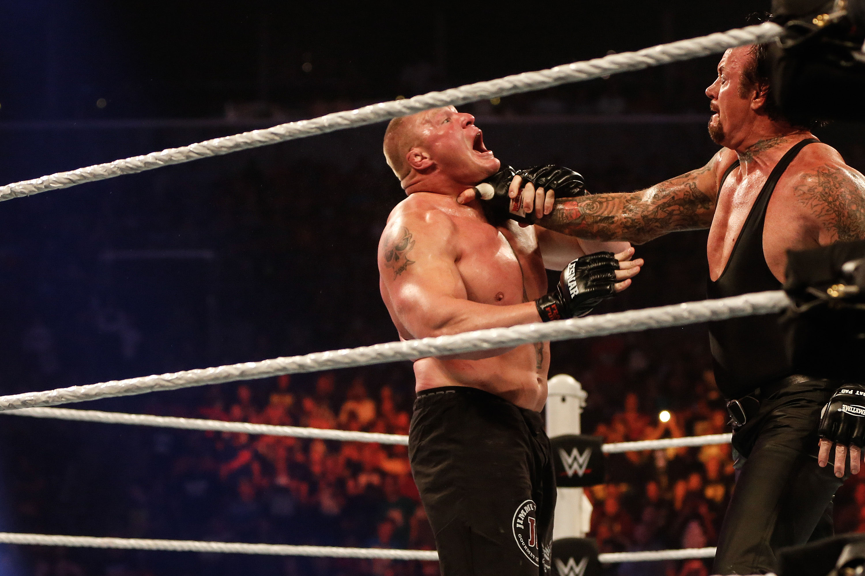 Brock Lesnar and The Undertaker battle it out at the WWE SummerSlam (Photo by JP Yim/Getty Images)