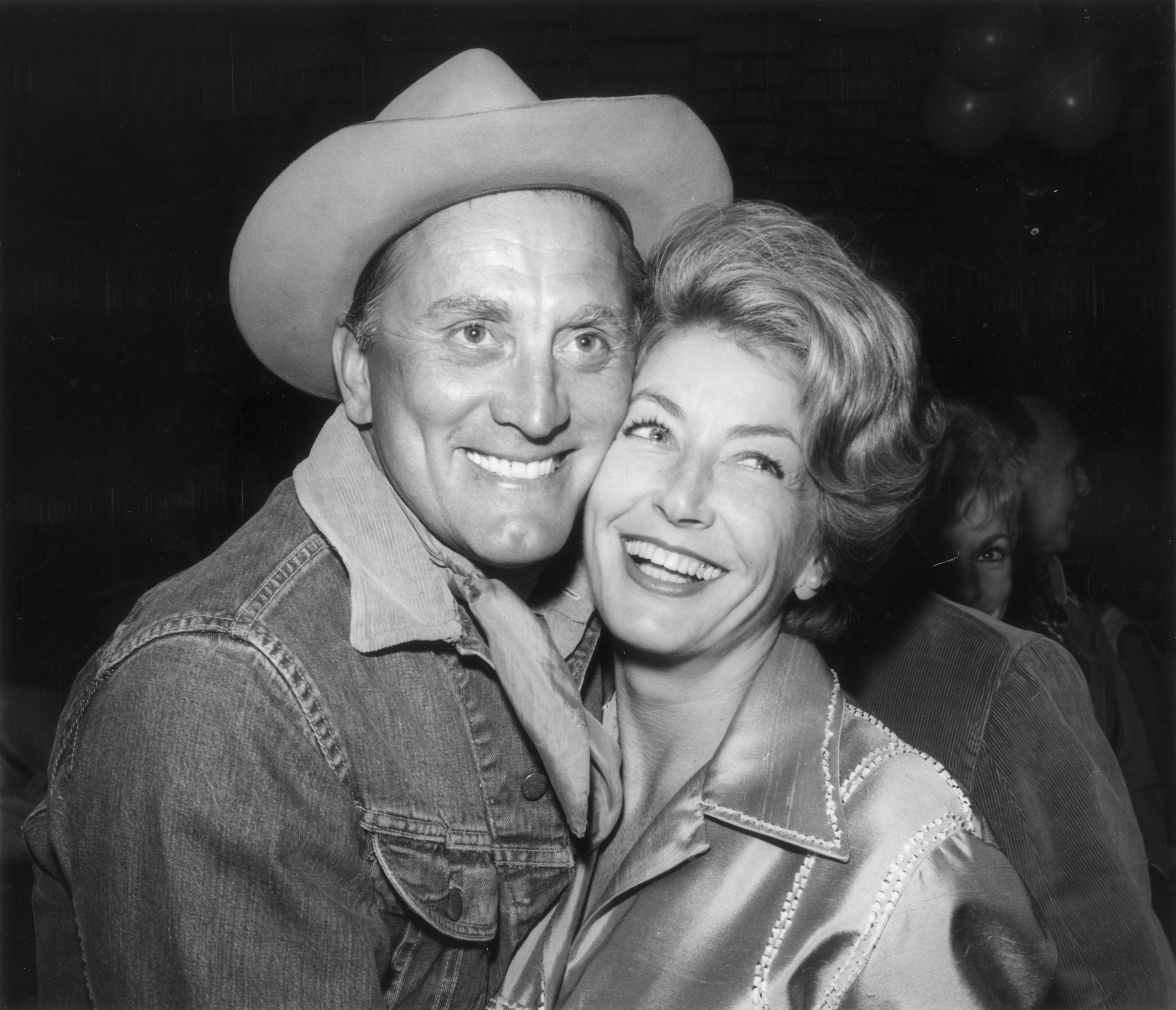American actor Kirk Douglas and his wife Anne at the eighth annual Share Inc 'Boomtown Party' where sizable funds were raised for the 'Exceptional Children's Foundation'.