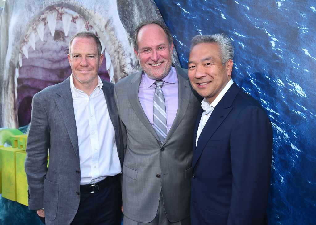 Toby Emmerich, Jon Turtletaub and Kevin Tsujihara attend the premiere of Warner Bros. Pictures And Gravity Pictures' 'The Meg' at TCL Chinese Theatre IMAX on August 6, 2018 in Hollywood, California. (Photo by Alberto E. Rodriguez/Getty Images)