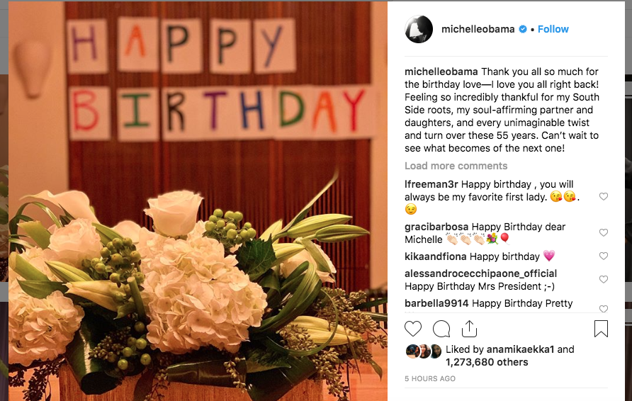 The former first lady shared a picture of flowers, thanking all who wished her on her birthday. (Instagram/Michelle Obama)