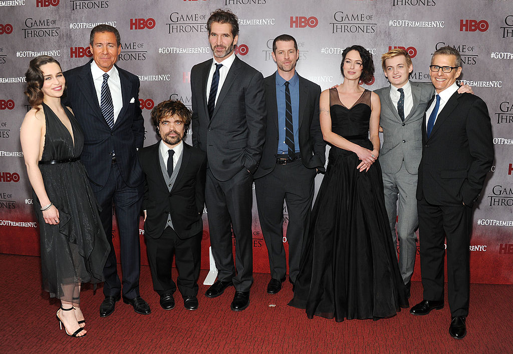 Emilia Clarke, Richard Plepler, Peter Dinklage, David Benioff, D.B. Weiss, Lena Headey, Jack Gleeson and Michael Lombardo attend the 'Game Of Thrones' Season 4 New York premiere at Avery Fisher Hall, Lincoln Center on March 18, 2014 in New York City. (Photo by Jamie McCarthy/Getty Images)