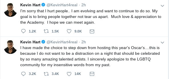 Hart made his declaration of stepping down on Twitter. (Twitter)