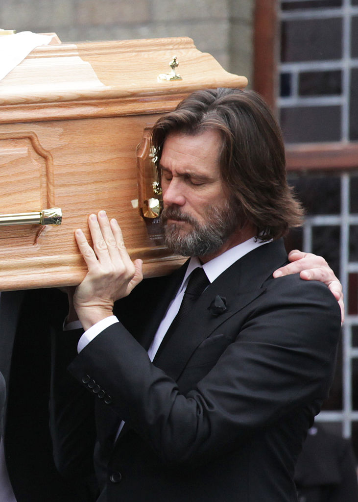 Jim Carrey attends the funeral of Cathriona White on October 10, 2015, in Cappawhite, Tipperary, Ireland. (Source: Getty Images)