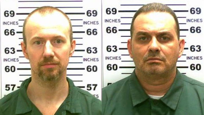 In this handout from New York State Police, convicted murderers David Sweat (L) and Richard Matt are shown in this composite image. Matt, 48, and Sweat, 34, escaped from the maximum-security prison June 6, 2015, using power tools and going through a manhole.