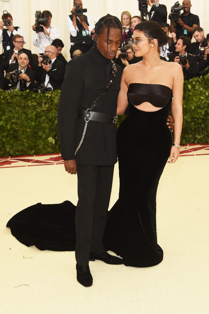 Travis Scott and Kylie Jenner attend the Heavenly Bodies: Fashion & The Catholic Imagination Costume Institute Gala at The Metropolitan Museum of Art on May 7, 2018 in New York City. (Photo by Jamie McCarthy/Getty Images)