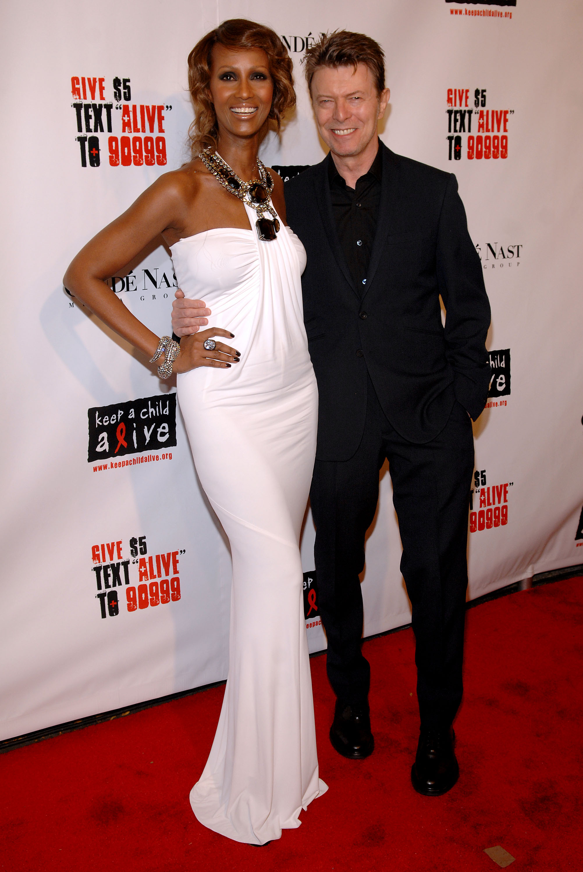 Iman and David Bowie attends the Keep a Child Alive organization's 5th annual Black Ball at The Hammerstein Ballroom on November 13, 2008 in New York City.