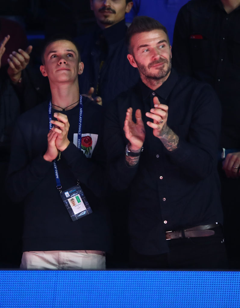 David Beckham and his son Romeo Beckham watch on during the final during Day Eight of the Nitto ATP Finals at The O2 Arena on November 18, 2018 in London, England. (Photo by Clive Brunskill/Getty Images)