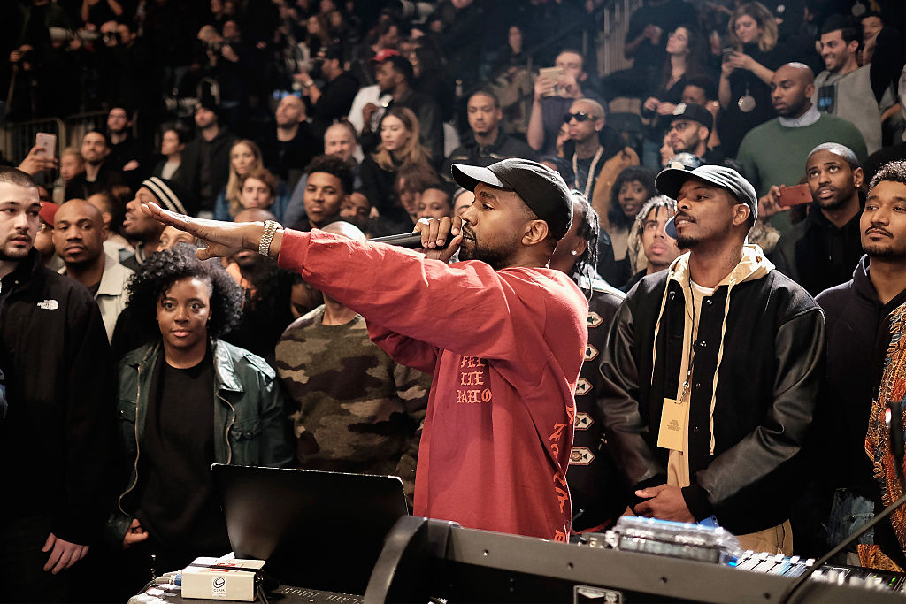 Kanye West performs during Kanye West Yeezy Season 3 on February 11, 2016 in New York City. (Photo by Dimitrios Kambouris/Getty Images for Yeezy Season 3)