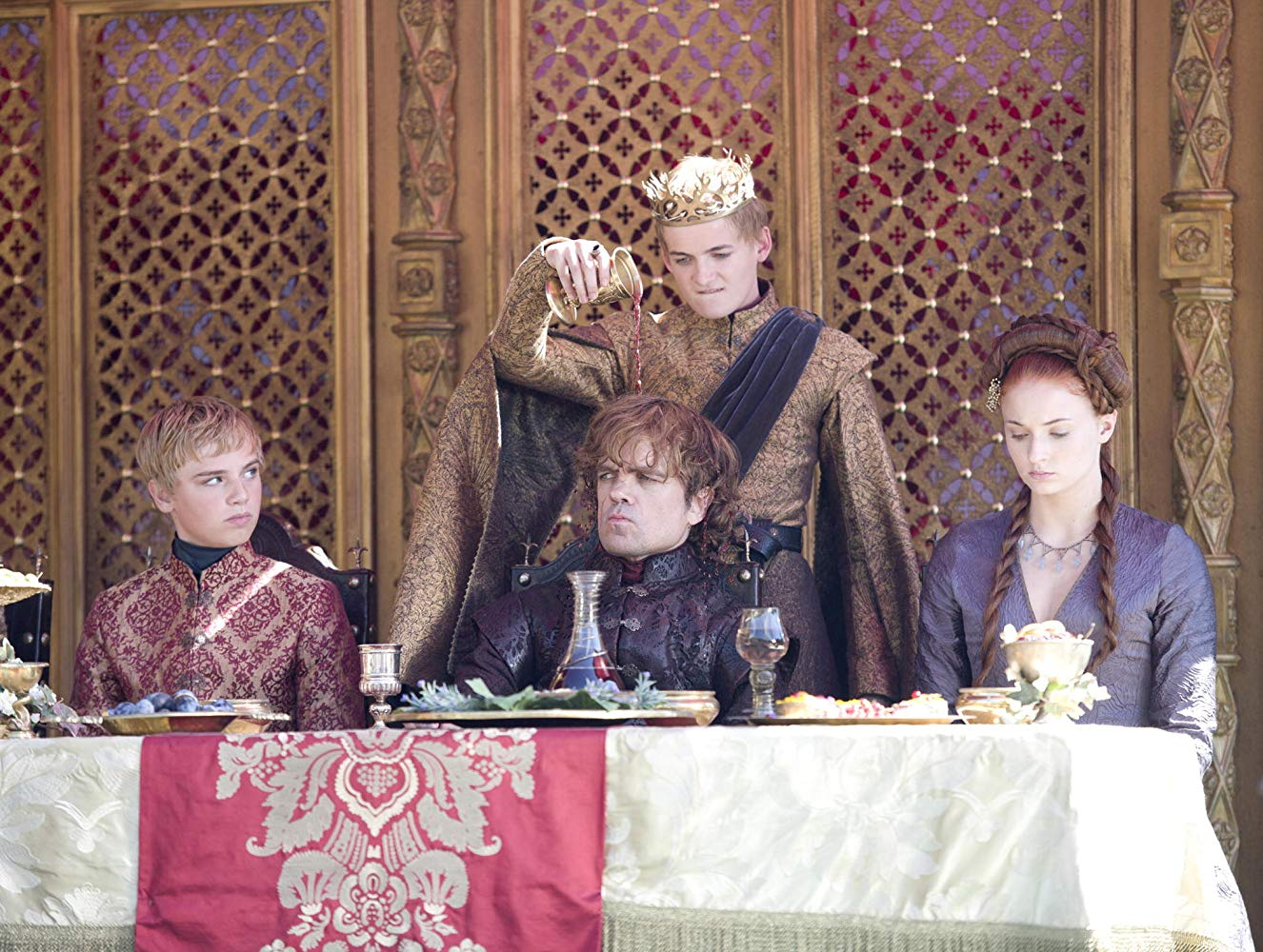 Peter Dinklage, Jack Gleeson, Dean-Charles Chapman, and Sophie Turner in Game of Thrones. Source: IMDB