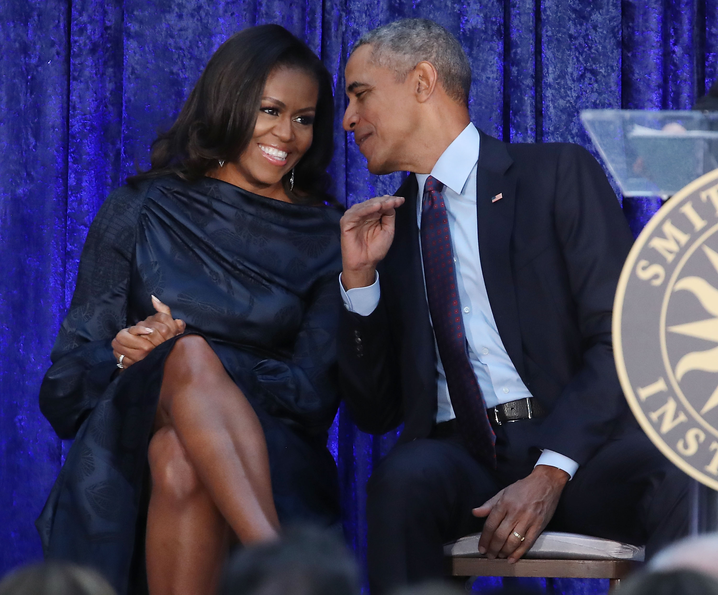 Former U.S. President Barack Obama and first lady Michelle Obama participate in the unveiling of their official portraits during a ceremony at the Smithsonian's National Portrait Gallery, on February 12, 2018, in Washington, DC. (Getty Images)