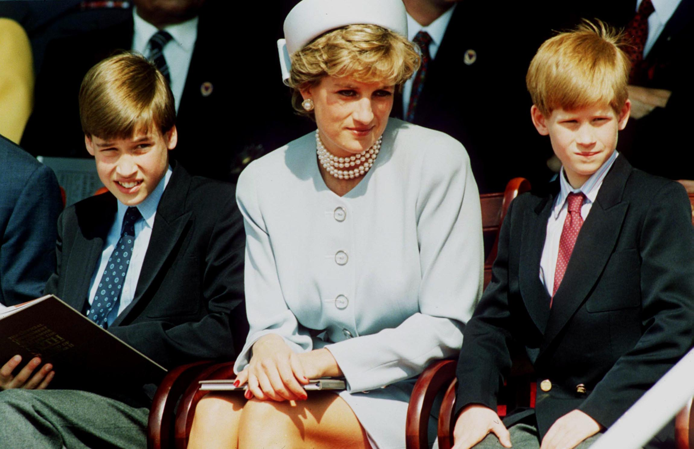 Princess Diana, Princess of Wales, with her sons Prince William and Prince Harry at the Heads of State VE Remembrance Service in Hyde Park on May 7, 1995, in London, England (Source: Anwar Hussein/Getty Images)