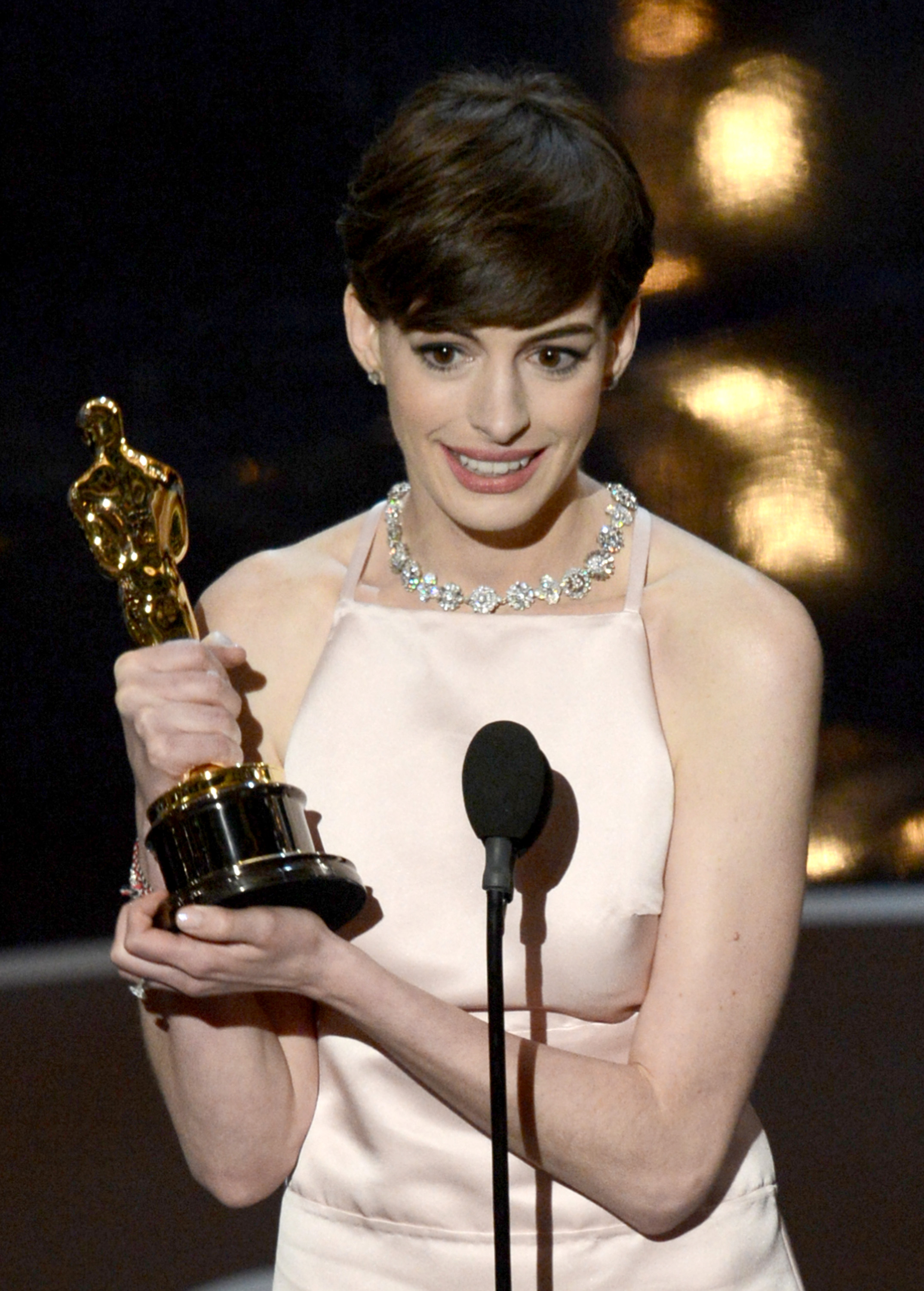 Actress Anne Hathaway accepts the Best Supporting Actress award for 'Les Miserables' onstage during the Oscars held at the Dolby Theatre on February 24, 2013 in Hollywood, California.