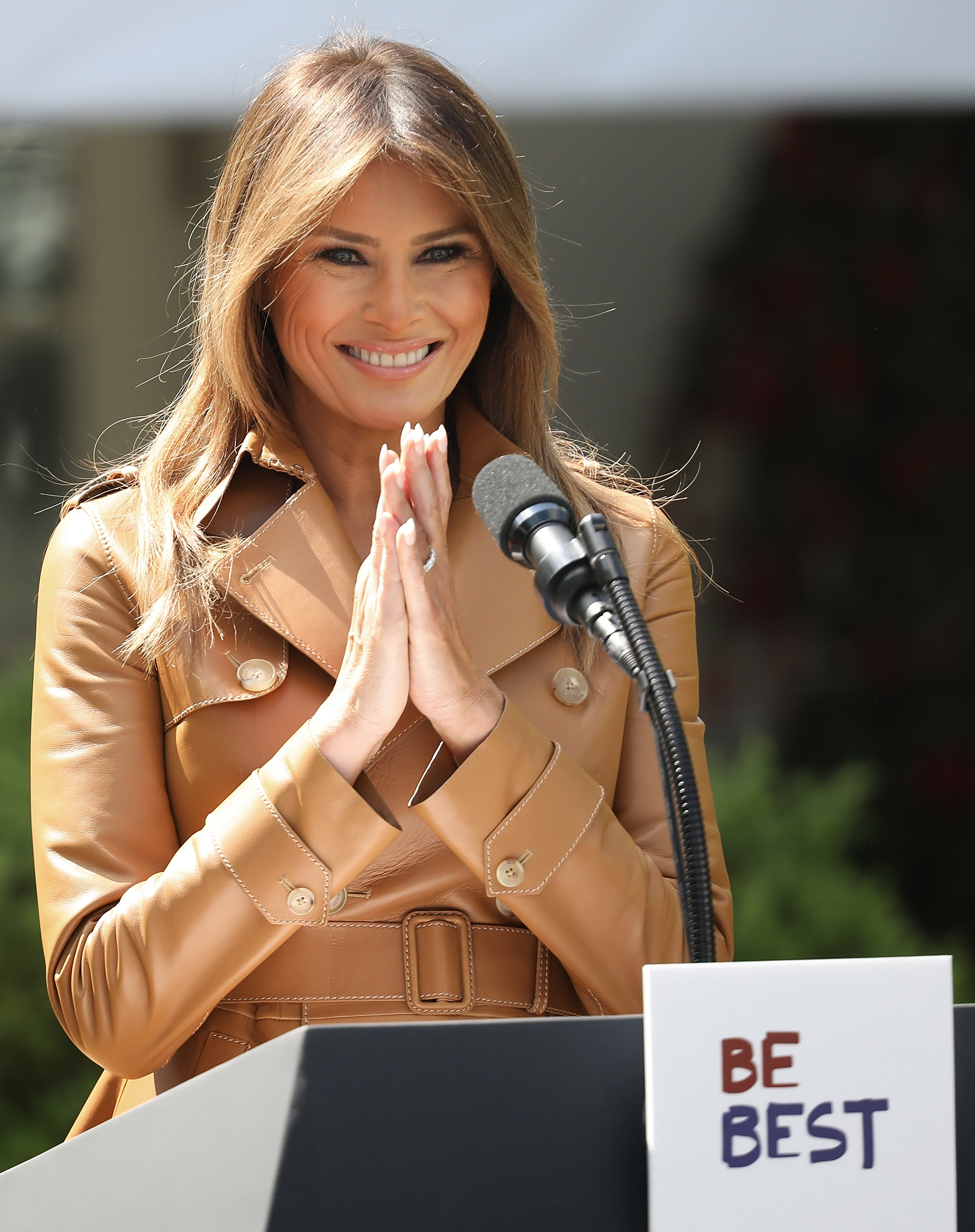 US First Lady Melania Trump speaks in the Rose Garden of the White House May 7, 2018 in Washington, DC (Getty Images)