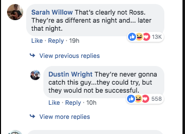Facebook users making Friends reference in the comments.