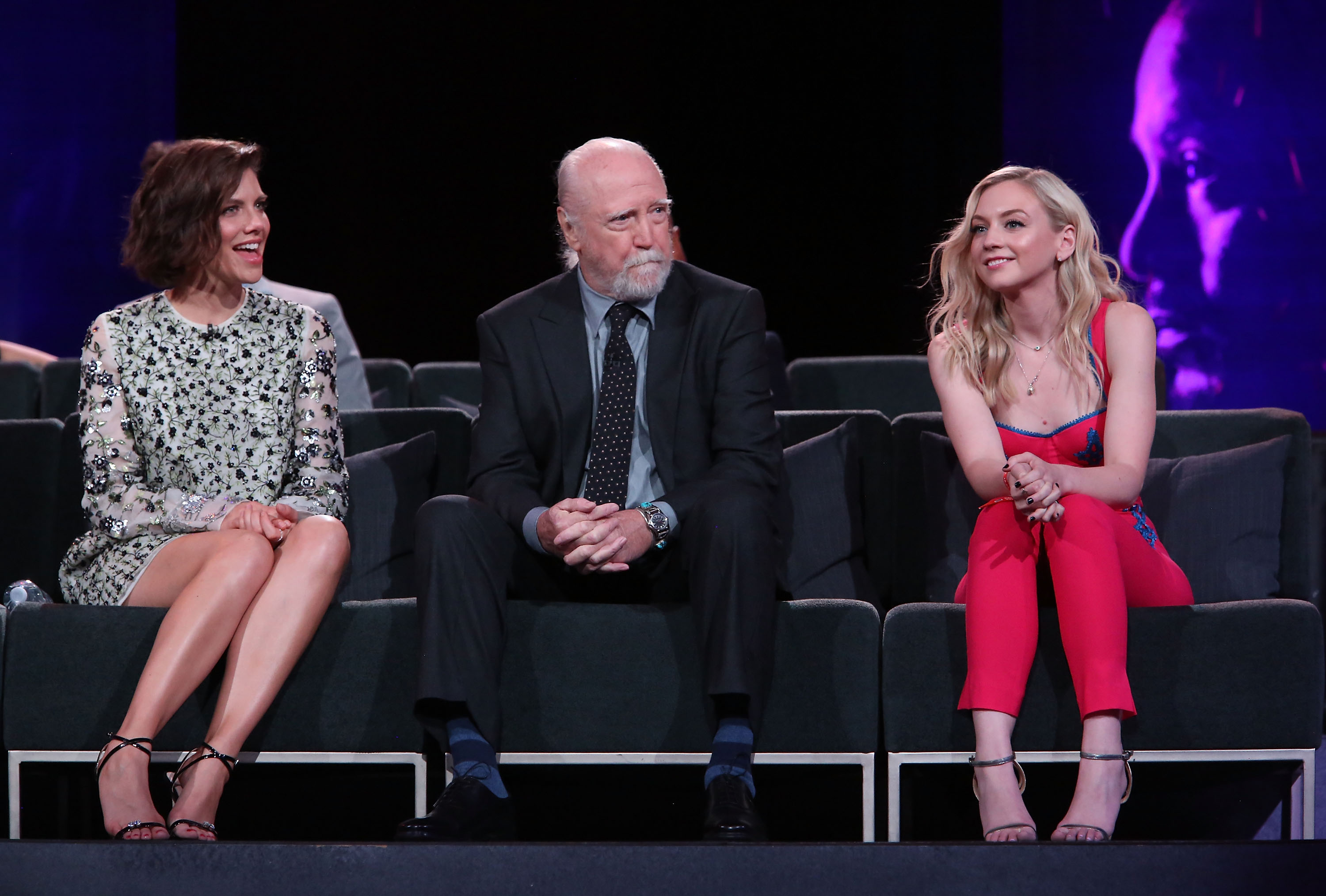 (L-R) Lauren Cohan, Scott Wilson and Emily Kinney speak onstage at The Walking Dead 100th Episode Premiere and Party on October 22, 2017 in Los Angeles. (Getty Images)