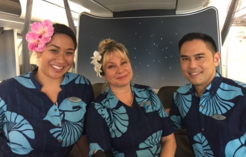 L to R: Crimson Foster, Kira Sunderland and Wes Hirata (Hawaiian airlines blog)