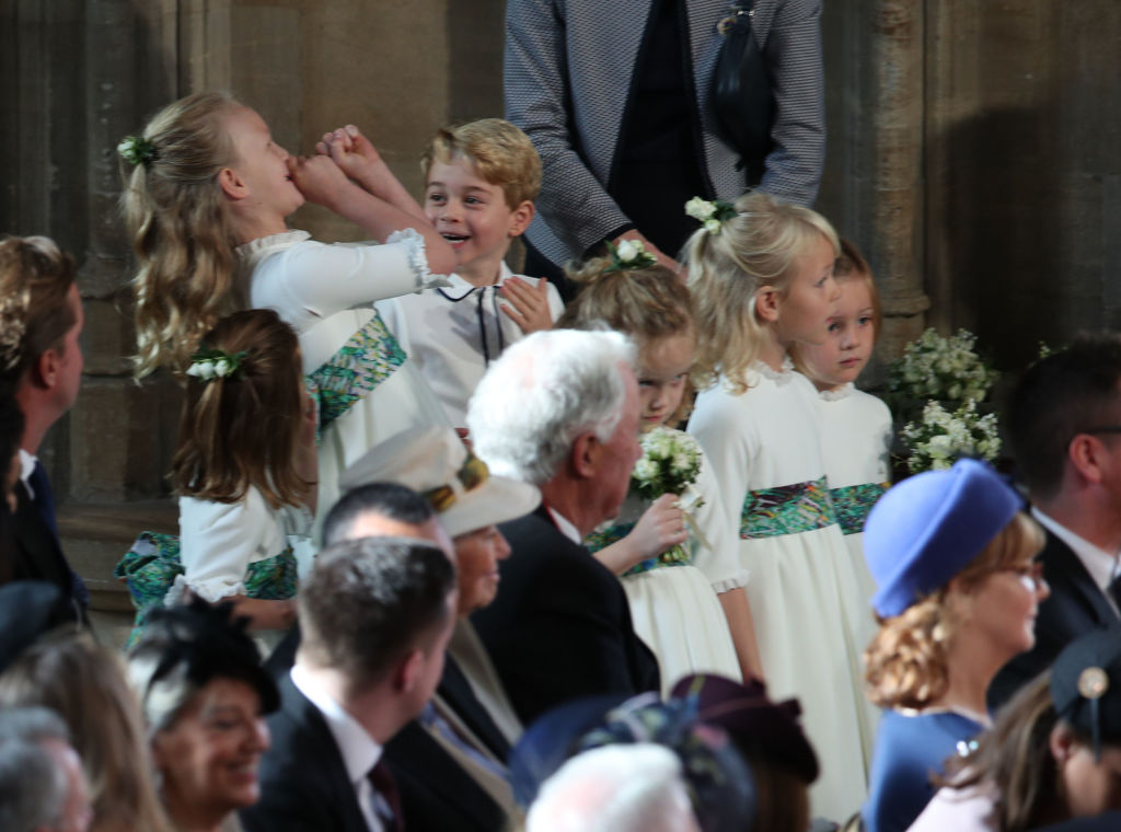 The bridesmaids and pageboys, including Prince George and Princess Charlotte, arrive for the wedding of Princess Eugenie to Jack Brooksbank at St George's Chapel in Windsor Castle on October 12, 2018, in Windsor, England. (Getty Images)