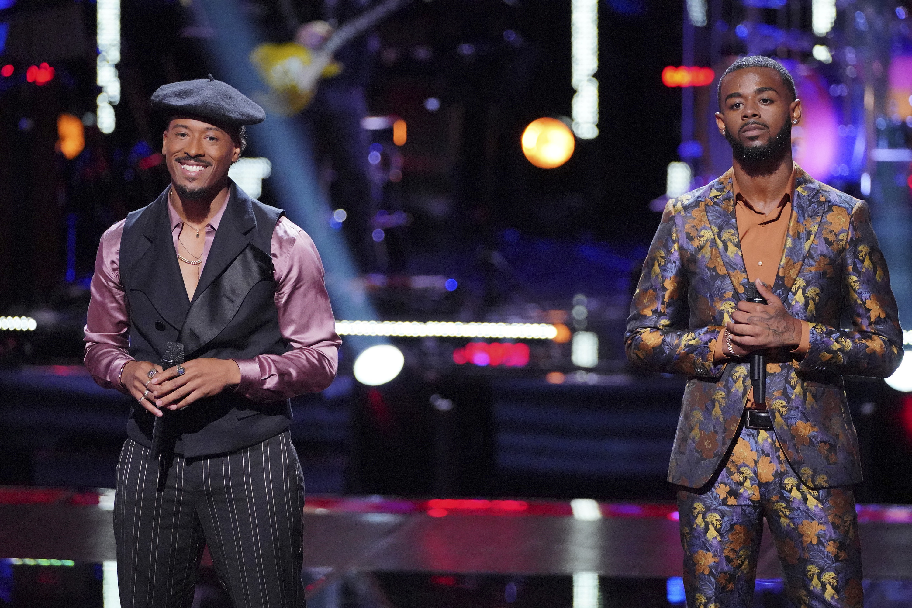 "THE VOICE -- ""Knockout Rounds"" Episode 1512 -- Pictured: (l-r) Franc West, Tyshawn Colquitt -- (Photo by: Tyler Golden/NBC)"