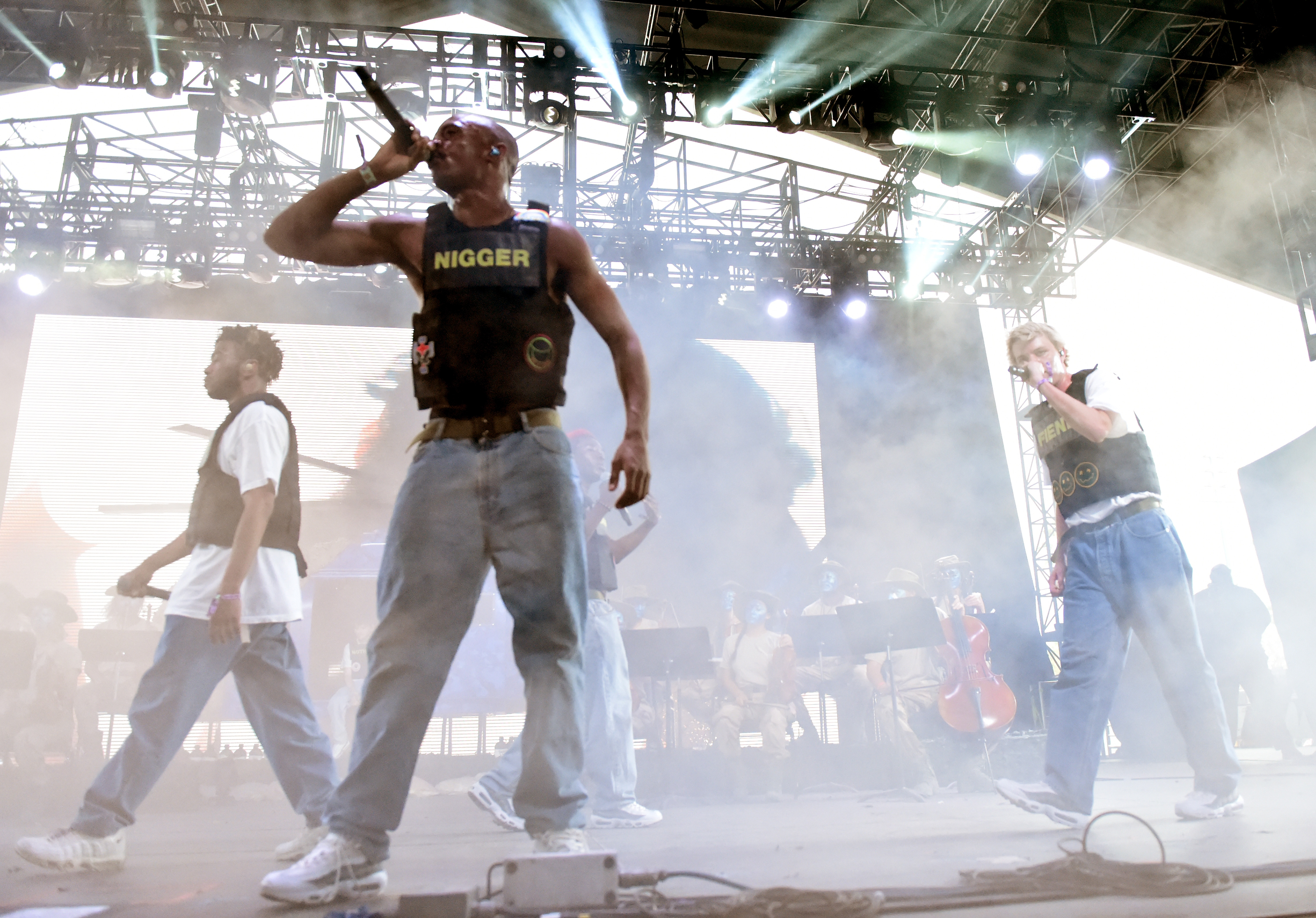 (EDITORS NOTE: This image contains profanity.) (L-R) Kevin Abstract, Ameer Vann and Russell Boring aka JOBA of Brockhampton perform onstage during the 2018 Coachella Valley Music And Arts Festival at the Empire Polo Field on April 21, 2018, in Indio, California (Getty Images)