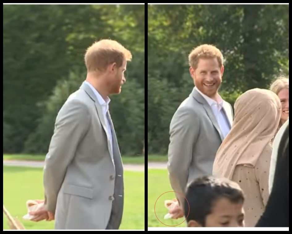 When the royal realized that he had been caught red-handed, he flashed a cheeky grin to the cameras before leaving with his treats securely in his hands. (Source: YouTube)