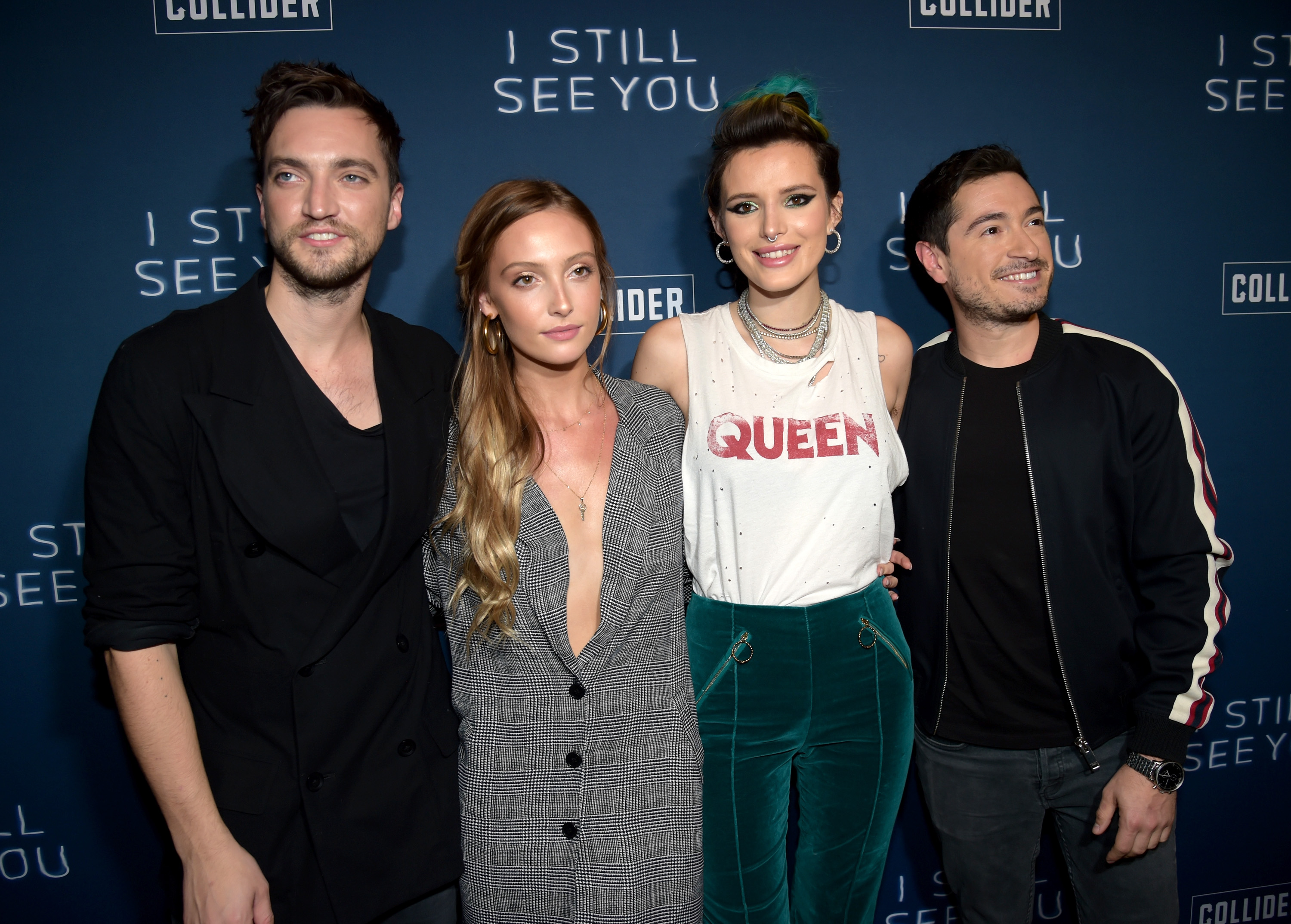 (L-R) Richard Harmon, Sara Thompson, Bella Thorne and Jason Fuchs arrive at a Collider special screening of Lionsgate's 'I Still See You' at the Arclight Theatre on October 2, 2018 in Sherman Oaks, California. (Getty Images)