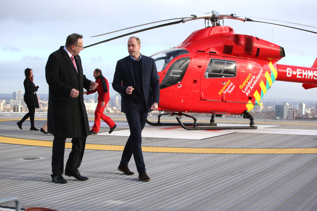 Prince William, Duke of Cambridge arrives at The Royal London Hospital on board the London Air Ambulance on January 9, 2019, in London (Source: Ian Vogler - WPA Pool/Getty Images)