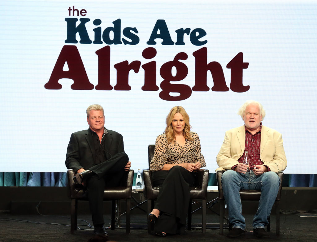 Stars Michael Cudlitz and Mary McCormack, and creator/executive producer Tim Doyle of the television show 'The Kids Are Alright' speak during the Disney/ABC segment of the Summer 2018 Television Critics Association Press Tour at the Beverly Hilton Hotel on August 7, 2018 in Beverly Hills, California. (Photo by Frederick M. Brown/Getty Images)