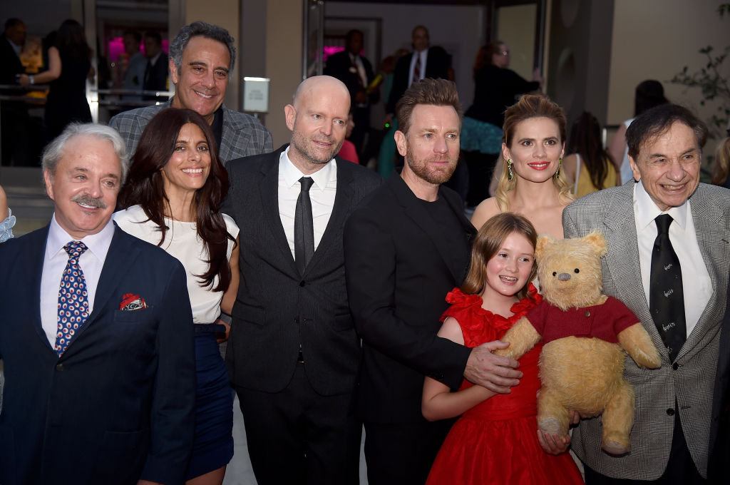 (L-R) Jim Cummings, Renee Wolfe, Brad Garrett, Marc Forster, Ewan McGregor, Bronte Carmichael, Hayley Atwell, and Richard M. Sherman attend the premiere of Disney's 'Christopher Robin' at Walt Disney Studios on July 30, 2018 in Burbank, California. (Photo by Kevin Winter/Getty Images)