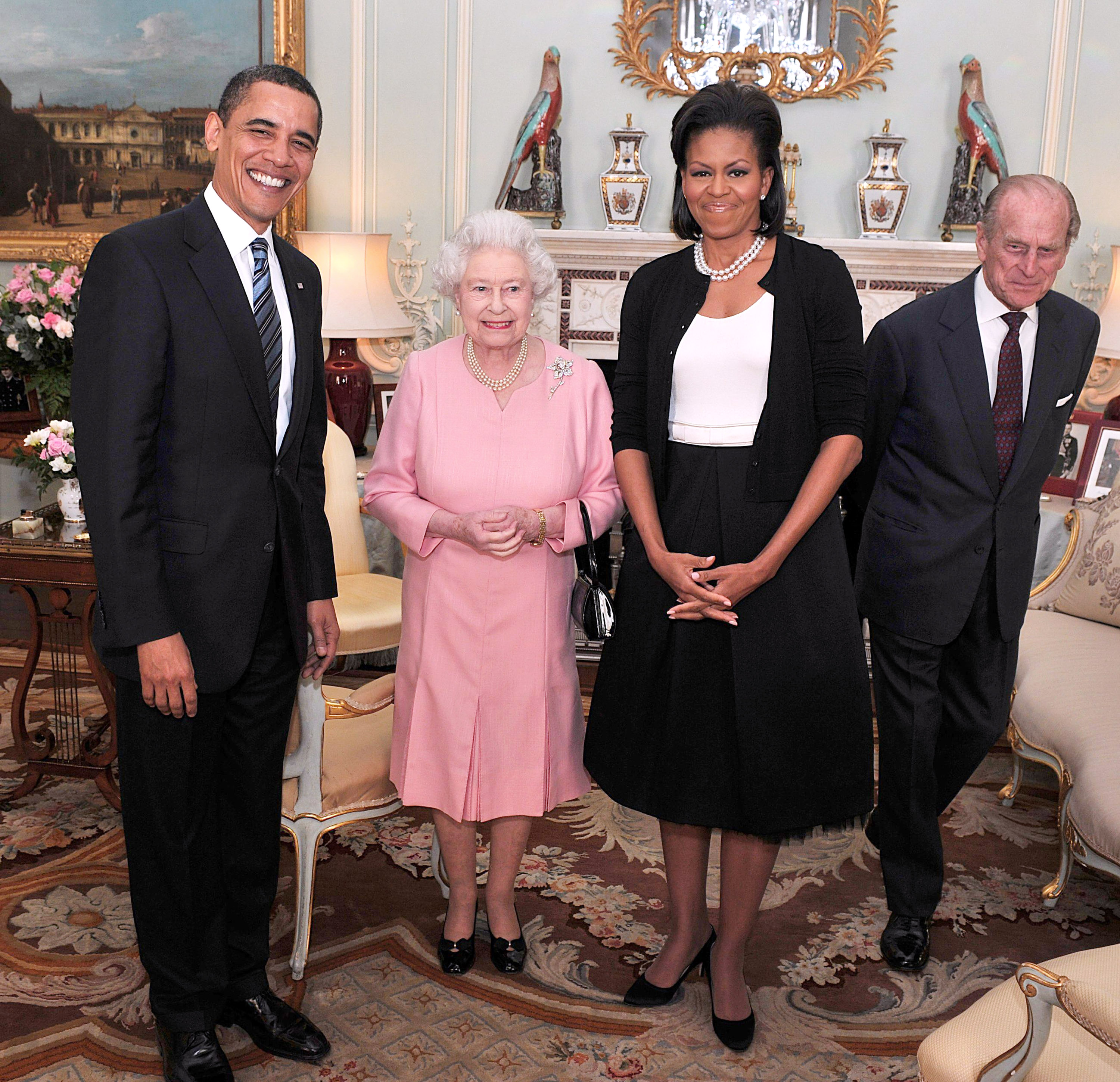US President Barack Obama and his wife Michelle Obama pose for photographs with Queen Elizabeth II and Prince Philip, Duke of Edinburgh during an audience at Buckingham Palace on April 1, 2009 in London, England.