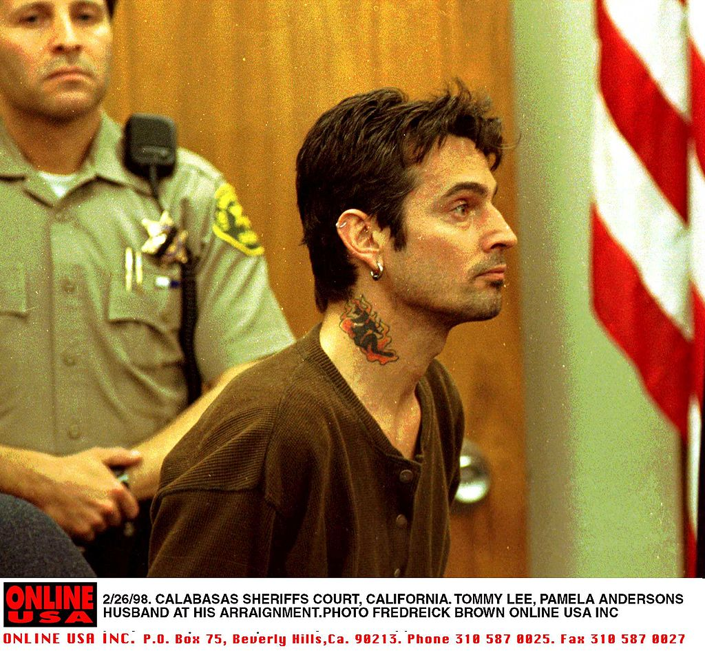Tommy Lee Appears At Malibu Municipal Court on February 26, 1998, accused of attacking wife Pamela Lee (Source: Frederick M. Brown/Getty Images)
