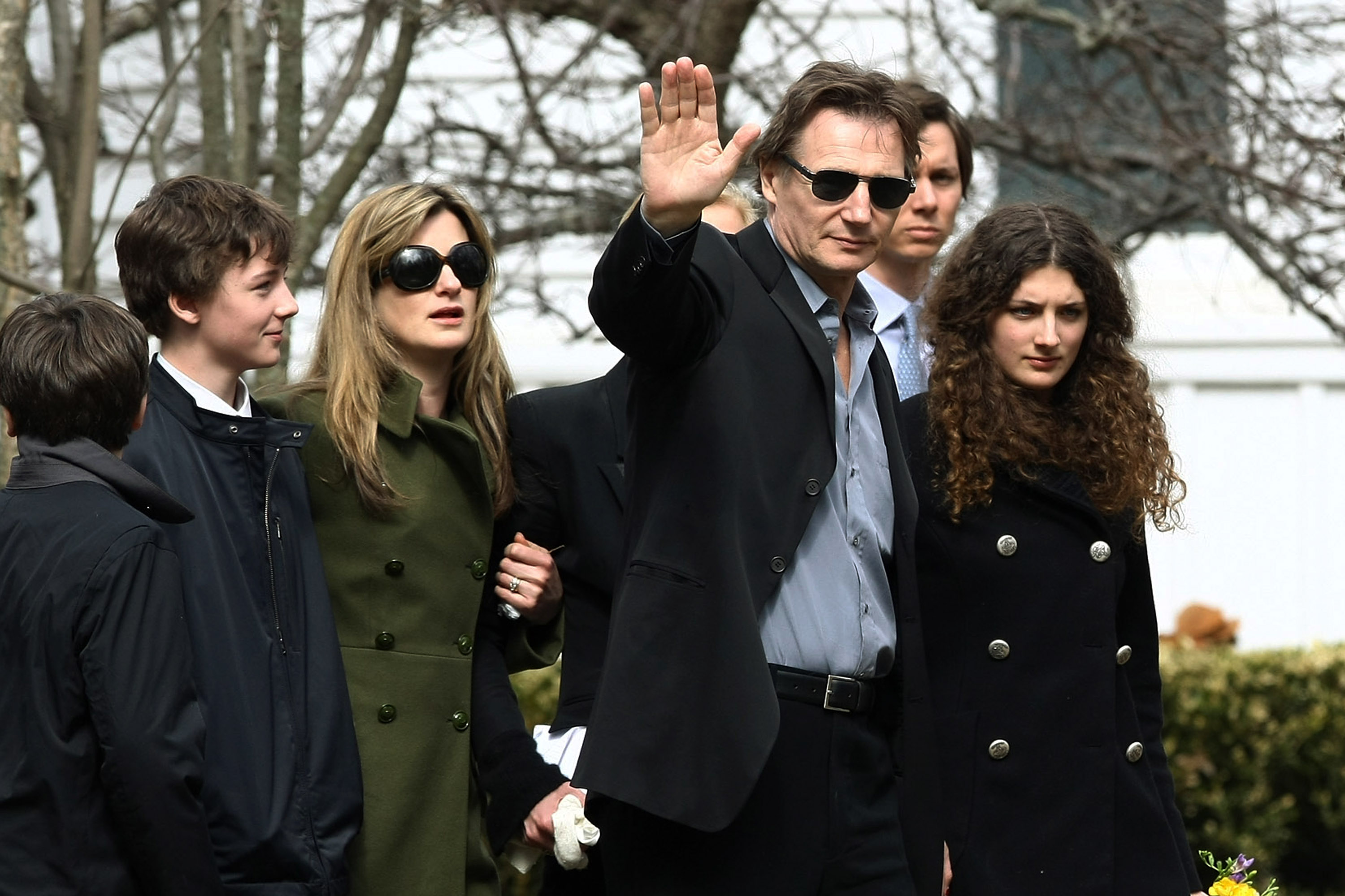 Actor Liam Neeson (2R) with family (L-R) son Daniel Neeson, son Micheal Neeson, an unidentified person, and niece Daisy Bevan arrive for the funeral of actress Natasha Richardson at St. Peter's Lithgow Episcopal Church on March 22, 2009 in Lithgow, New York. Richardson died at Lenox Hill Hospital on March 18 in New York City after suffering a ski injury at the Mont Tremblant resort in Montreal.