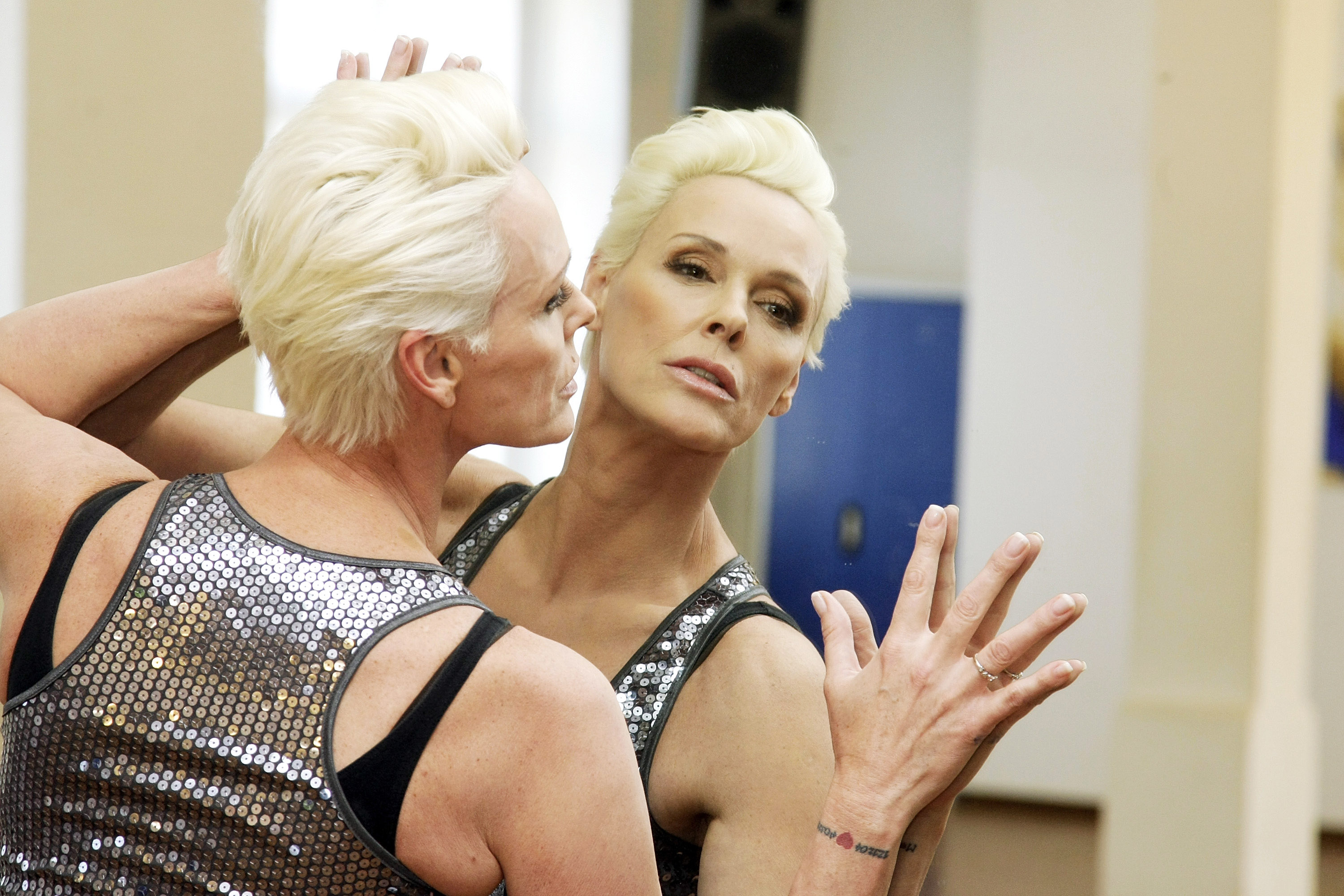 Actress Brigitte Nielsen attends 'Let's Dance' training at Tanzschule Stelter on April 7, 2010 in Berlin, Germany.