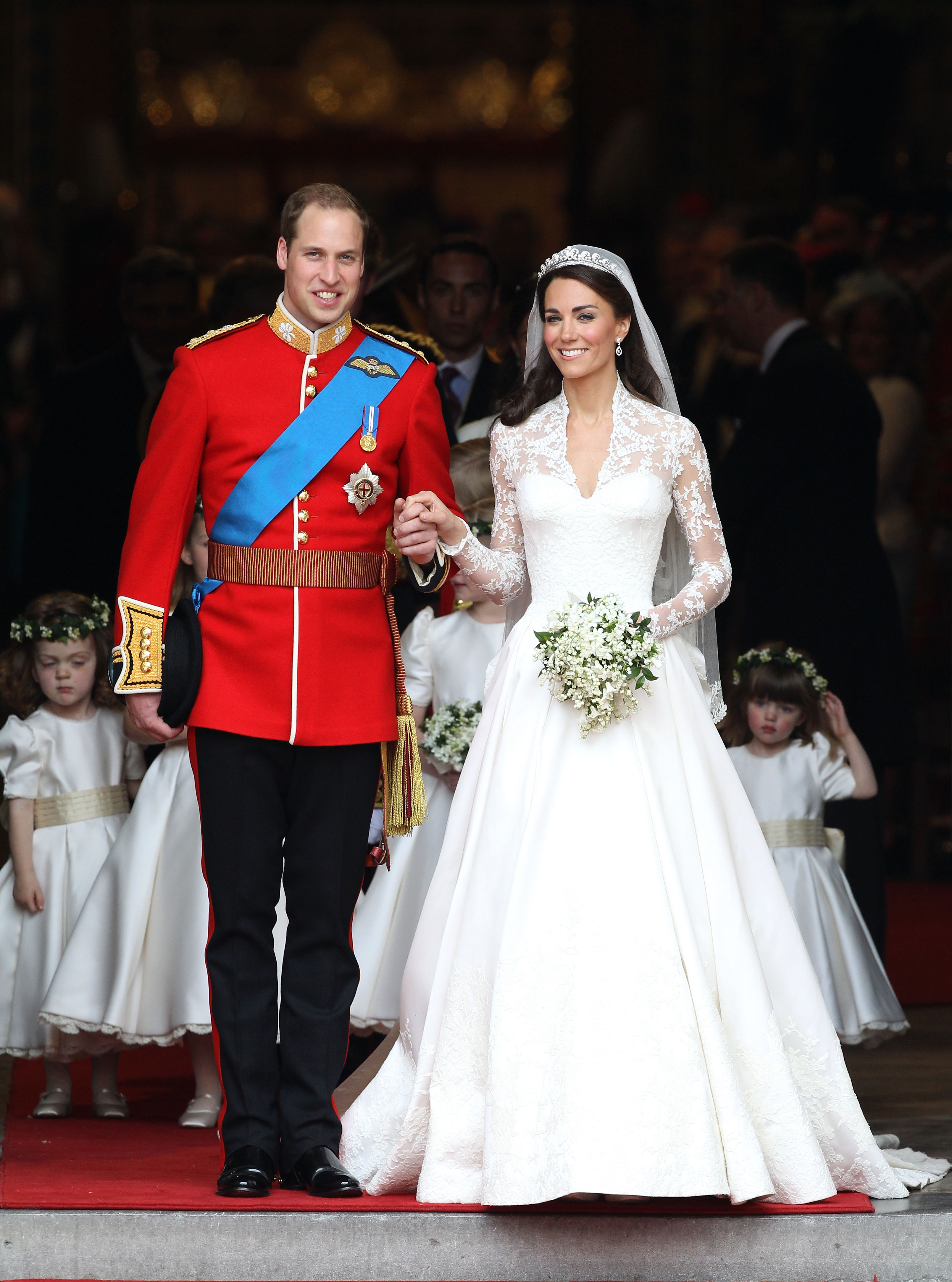 Prince William, Duke of Cambridge and Catherine, Duchess of Cambridge smile following their marriage at Westminster Abbey on April 29, 2011 in London, Englandcle and pageantry of the Royal Wedding. (Getty Images)